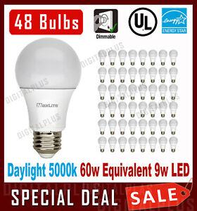 Details About Lot Of 48 Maxlite 9w Led Bulb 60 Watt Replace A19 Daylight 5000k Led Light 60w