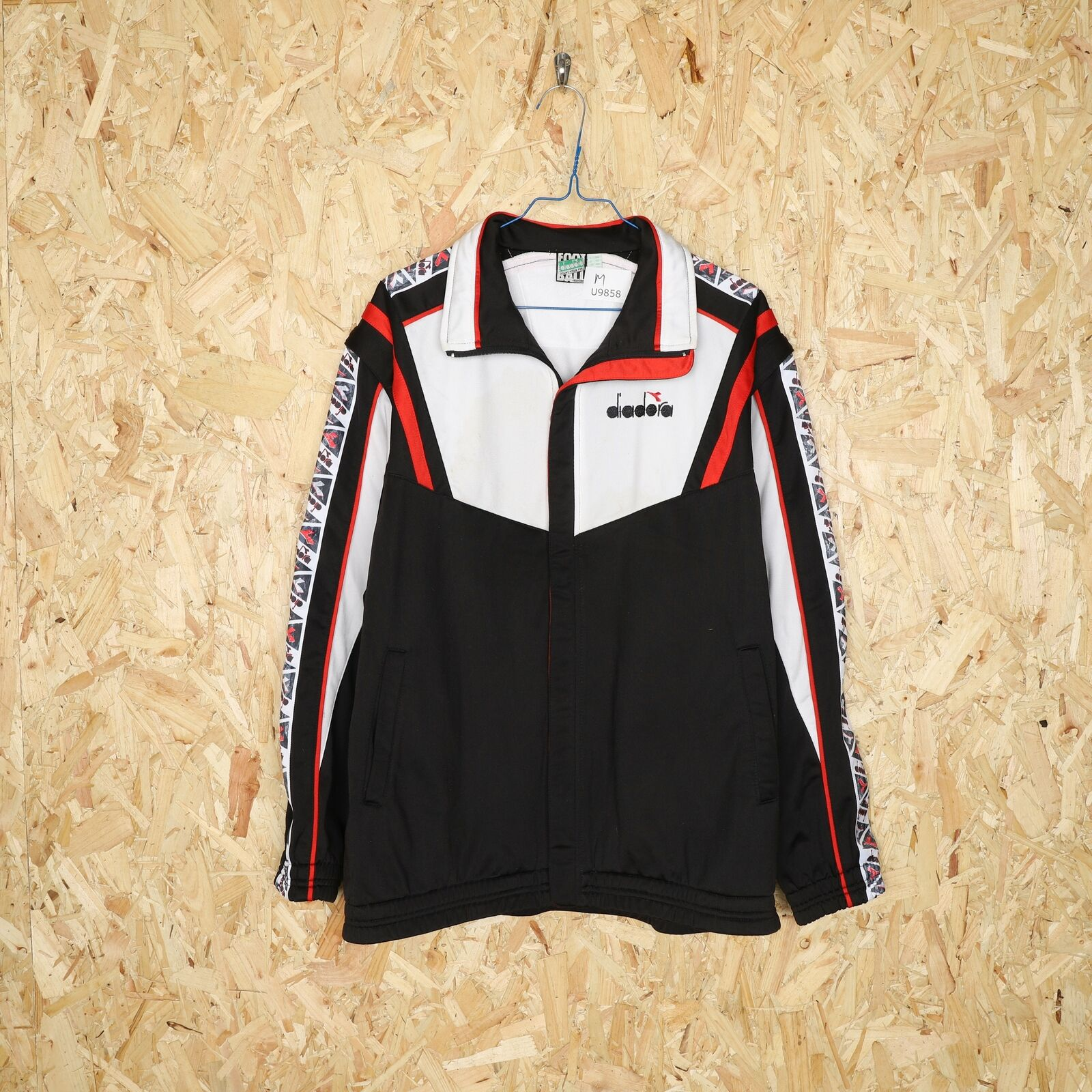 90s DIADORA Tape Logo Tracksuit Jacket Black   Medium M