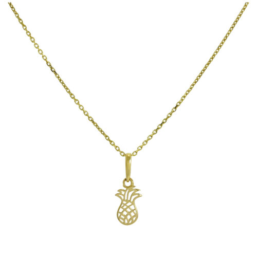375 9ct Gold Pineapple Pendant w Cut Out Details on Chain 16-20 Inches Exotic