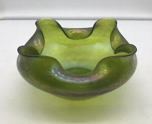 Antique-RINDSKOPF-Bohemian-Art-Glass-Ruffled-Iridescent-Green-Oil-Spot-Bowl