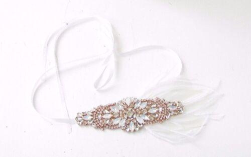 Opale Blanc Or Rose Argent Plume Strass Serre-tête Bandeau nuptiale Vintage 3405