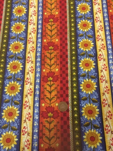 Fabri-Quilt - Quilting Fabric - Classic Folk Art - Sunflowers - 100% Cotton