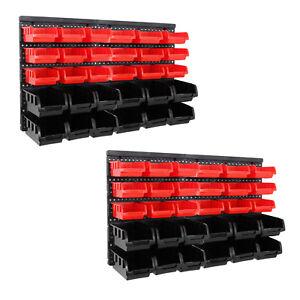 64tlg-Set-Stapelboxen-Wandregal-Werkstatt-Lagerregal-Lager-Boxen-Schraubenbox
