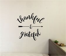 Grateful & Thankful  With Arrow Wall Sticker Wall Decor Vinyl Decal lettering