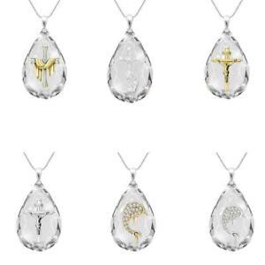 Kreuz 925 Silber Gold Halskette Anhänger Weißer Saphir Geschenk Schmuck L2M9