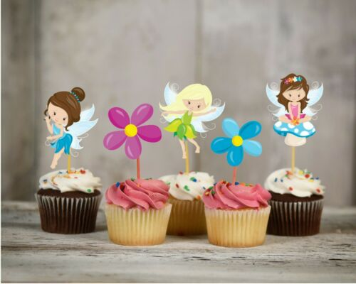 Fairy cupcake toppers decorations birthday party baby shower set of 12