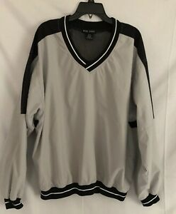 Nike-Golf-Men-039-s-Gray-Black-V-Neck-Pull-Over-Wind-Breaker-Jacket-size-L