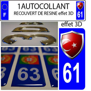 1 sticker plaque immatriculation auto DOMING 3D RESINE  BLASON TURQUIE DEPA 61