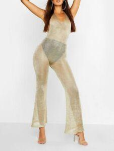 Boohoo Metallic Knit Halterneck Jumpsuit Rose Gold Boo15 Ebay