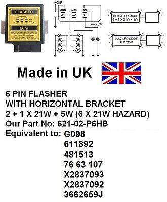 Equivalent 621-02-P6HB 24V 6 PIN FLASHER G098,611892,481513,76 63 107,X2837093