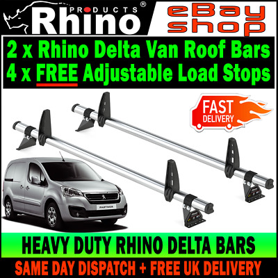 Rhino Products 3 Delta Bars for a Peugeot Partner 2008-2018 w// Load Stops