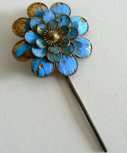 Qing-Dynasty-Kingfisher-feather-Hair-Pin-Antique-VINTAGE-Chinese-Tian-tsui