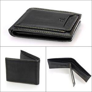 De-Lujo-De-Alta-Calidad-Para-Hombre-Negro-Cuero-Billetera-Plegable-Id-Credit-Card-Holder-De-Regalo