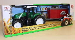 Traktor grün mit Viehanhänger ca. 42 cm Farm NEU/OVP