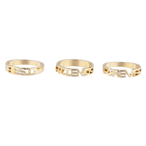 Lux Accessories Goldtone Best Friends Forever BFF Friendship Ring Set 3PC