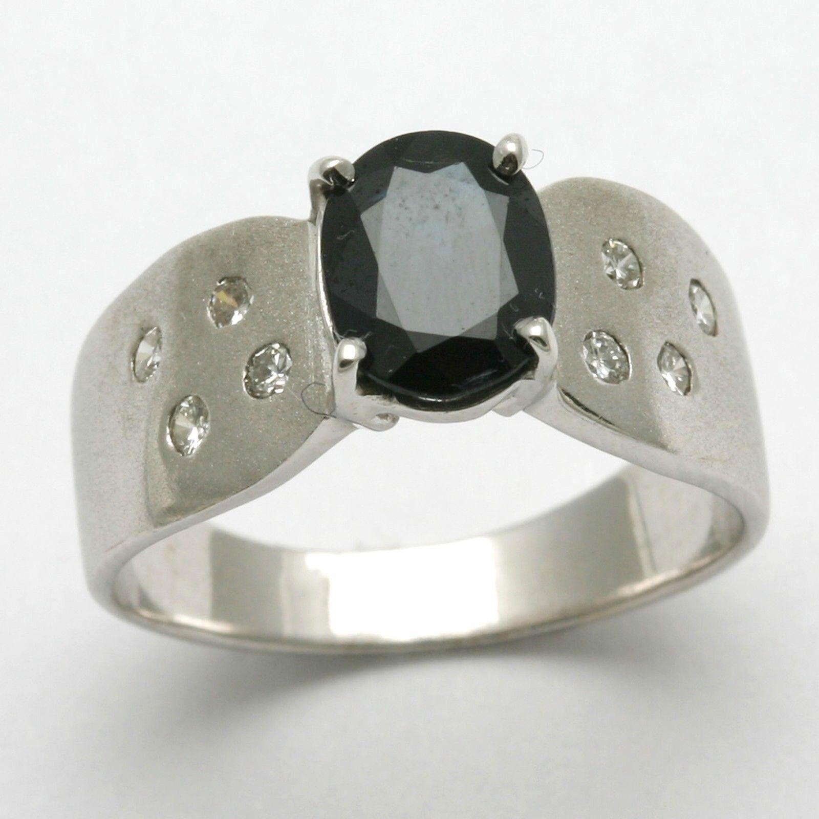 bluee Sapphire & Diamond Ring Modern Oval 14k white gold NEW