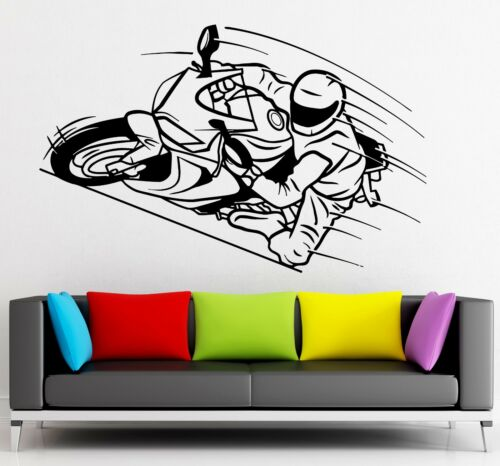 ig2217 Wall Sticker Vinyl Decal Motorcycle Race Extreme Sports Speed Garage