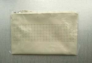 SAKS FIFTH AVENUE FAUX LEATHER WHITE CREAM POUCH WRISTLET GWP  NEW