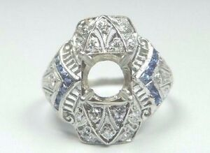 Antique-Art-Deco-Setting-Mounting-Platinum-Hold-6-MM-8-MM-Ring-Size-6-5-UK-M1-2