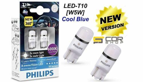 127996000KX2 Lampade T10 Philips LED 6000k Luce Bianca Posizione Targa Interno