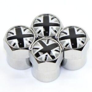 x4-GREY-UNION-JACK-Dust-Caps-Logo-UK-3D-Metal-Chrome-Valve-Covers-MINI-Rover-MGF
