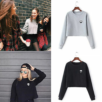 Women Long Sleeve Sweater Pullover Jumper Top Fall Winter Crop Sweatshirt Blouse