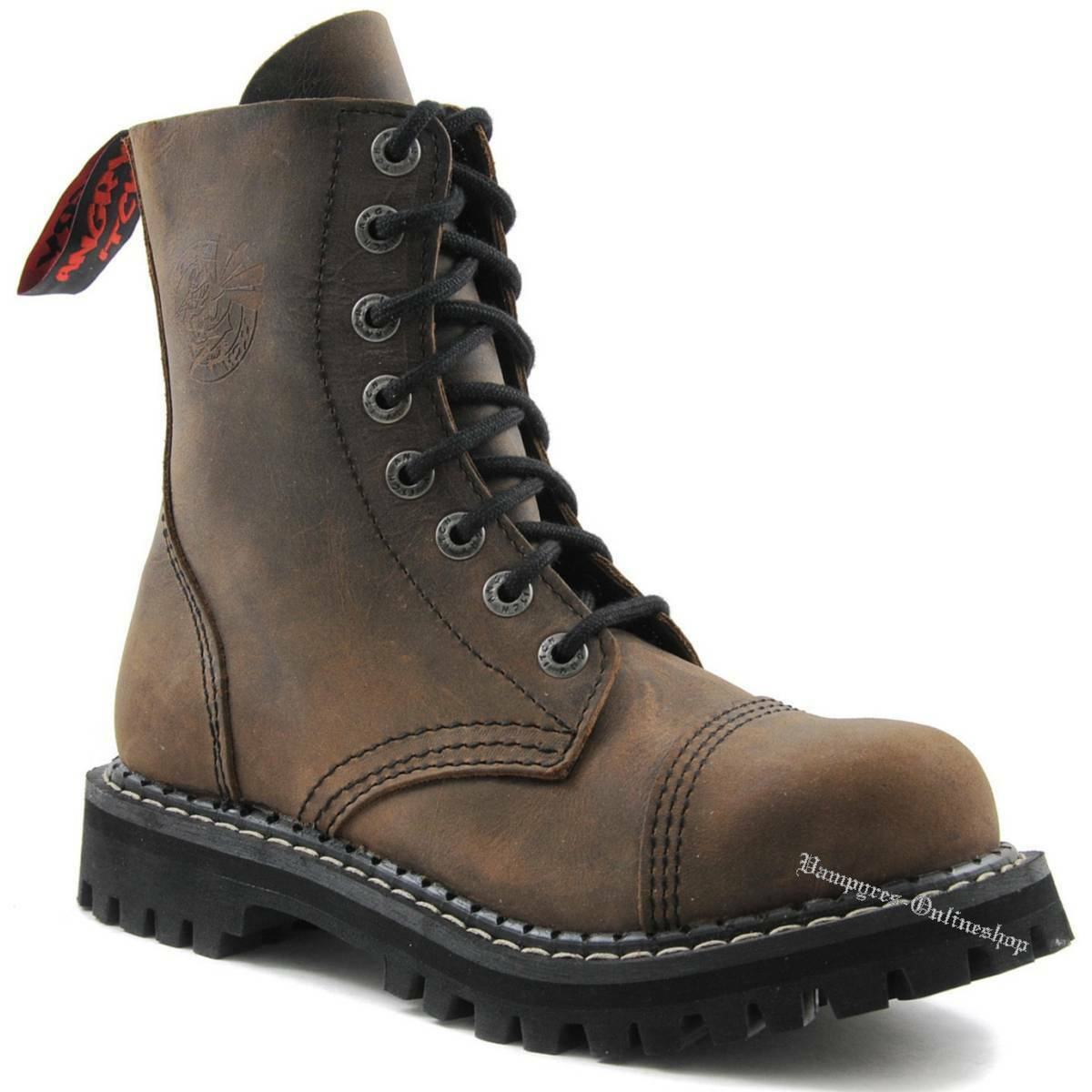 Angry Itch 8-agujero marrón vintage marrón rangers botas de cuero zapatos tapas de acero