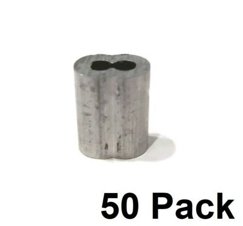 """50 New 1//8/"""" Wire Rope ALUMINUM CABLE CLAMP Double Barrel Loop Ferrule Sleeves"""
