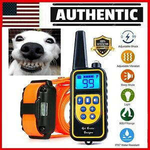 880YARD Dog Training US Collar Rechargeable Remote Shock  PET Waterproof Trainer