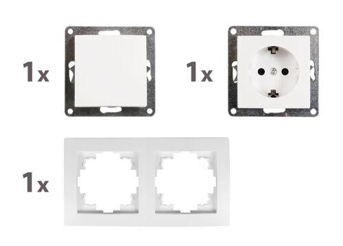 """Interrupteur et prises de courant Set FLAIR /""""PORTE 2 FOIS/"""" 3 pièces blanc"""