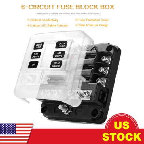 6-Way Standard ATC//ATO Blade Fuse Box Block Holder LED Indicator with Negative