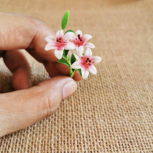 Color White Lily Clay Flower Bouquet 3 Bunches Flower Miniature Dollhouse Decor