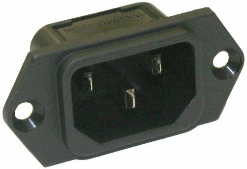 Interpower 8301312 IEC 60320 C14 Snap In Power Inlet w Quick Disconnects 1.5mm