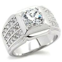 9x024pb Mans Channel Set Solitaire Simulated Diamonds Mens Ring All Sizes Signet