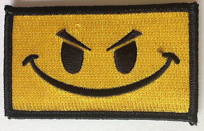 Embroidered Tactical ANGRY SMILE face Military Morale Patch