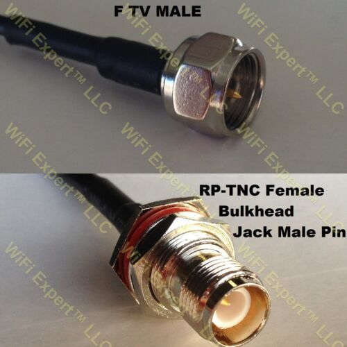 USA-CA RG58 F MALE to RP-TNC FEMALE BULKHEAD Coaxial RF Pigtail Cable