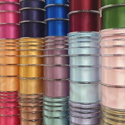 250 OPTIONS Beautiful Double Sided Satin Ribbon 3mm-50mm Wide Plain Cut Per 1M