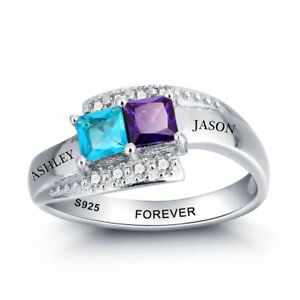 BAUMA Mothers Ring with 2 Birthstones Personalized 925 Sterling Silver Custom Engraved Name Anniversary Ring for Women