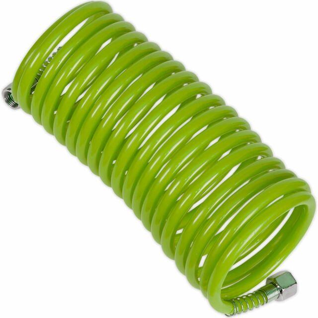 Sealey Alta Visibilidad Verde 5m X Ø5mm en Espiral Aire Manguera con 0.6cm Mujer