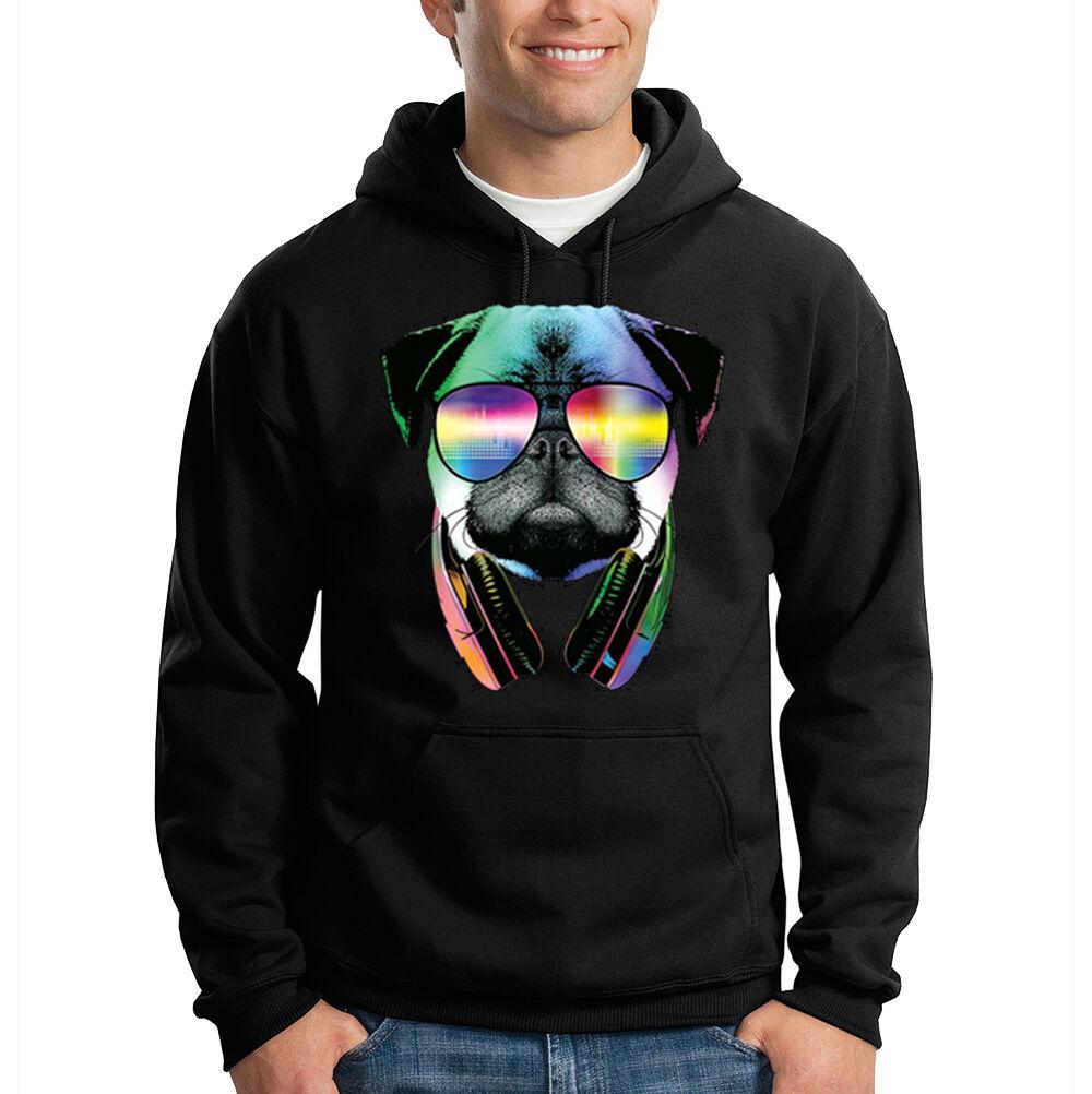 Pug DJ Wearing Sunglasses Headphones Music Animal Lover Hooded Sweatshirt Hoodie