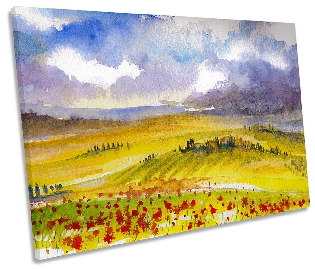 rot Poppies Landscape Watercolour SINGLE CANVAS WALL ARTWORK Print Art