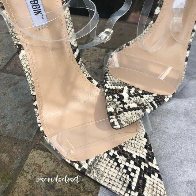 Cape Robbin Snake Clear PVC Sandal Open Pointy Toe Stiletto Heel Pump Size 7