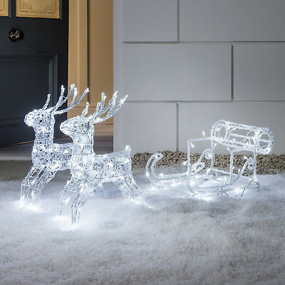 Light Up LED Christmas Reindeer & Sleigh Indoor Outdoor Acrylic Decoration