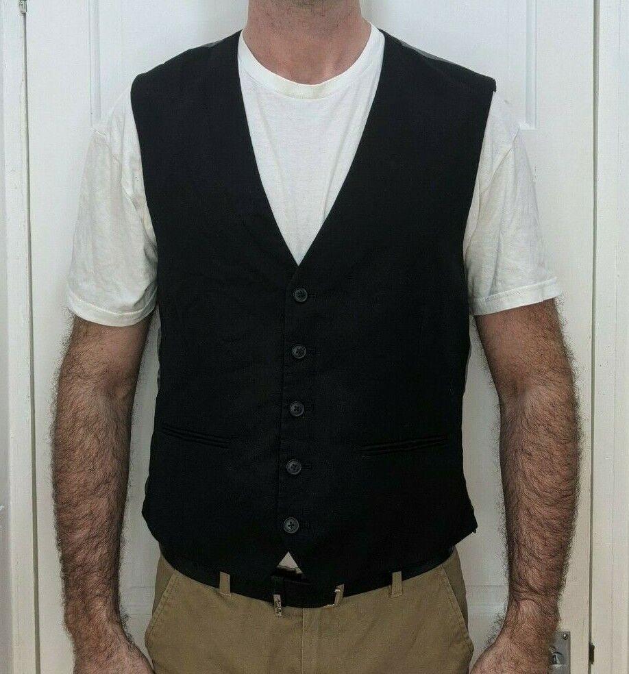 Mens Next Black Waistcoat - Size 46 R (XL)