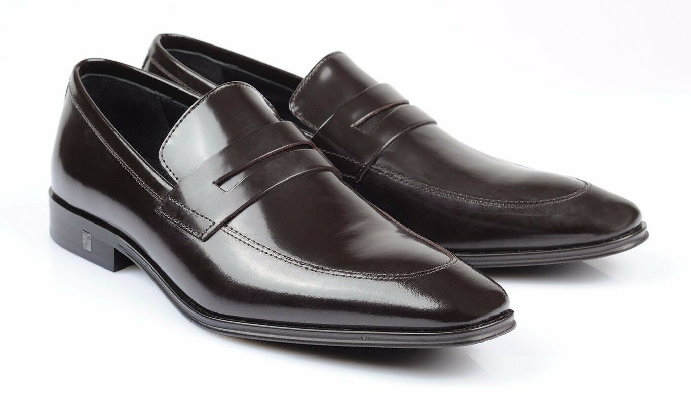 Versace Collection braun Patent Patent Patent Leather slip on Dress schuhe Loafers V233 new ccd1c2