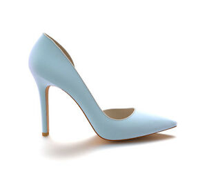 10cm-Pointed-Toe-d-039-Orsay-with-Trim-Stiletto-Heel-LT-BLUE-SUEDE