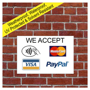 We accept credit cards sign Contactless Mastercard Visa PayPal Payment card 9686