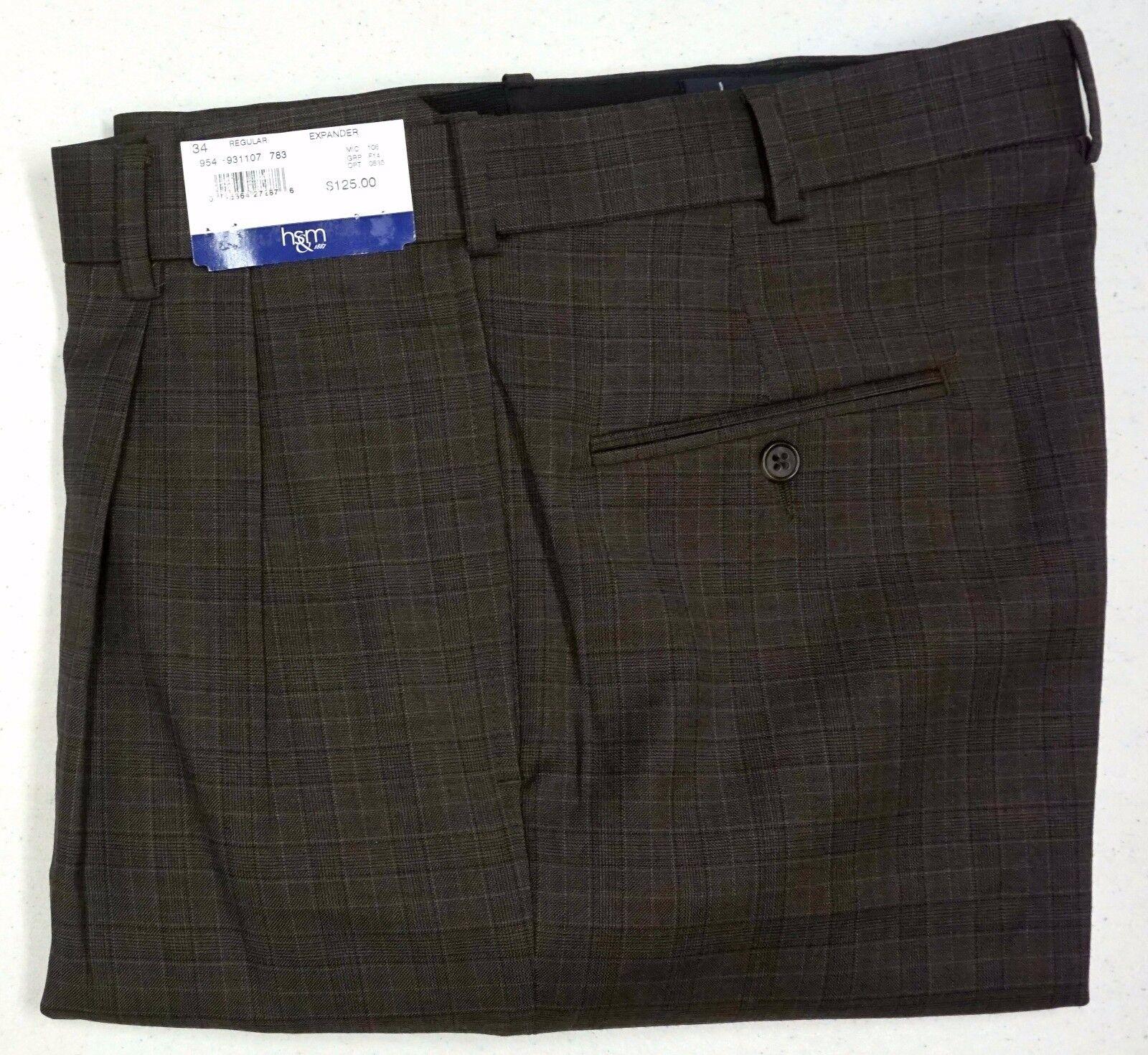 NWT  HART SCHAFFNER MARX EXPANDER PLAID BROWN DRESS PANTS PLEAT MENS 34R NEW