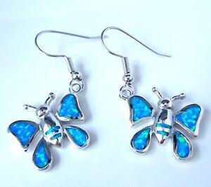 GORGEOUS BLUE  FIRE OPAL   HOOK  EARRINGS