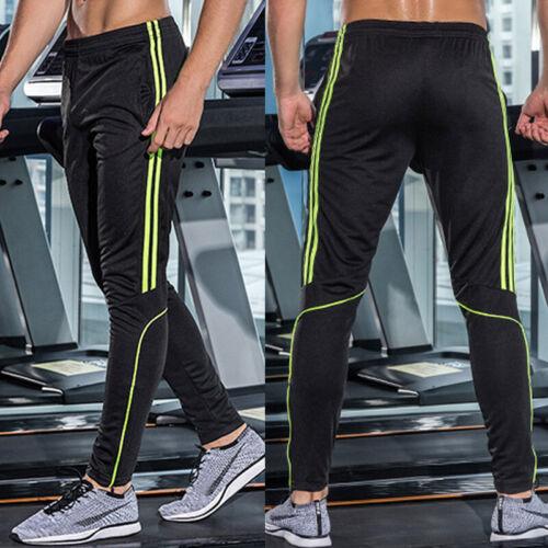 Mens Running Pants Sport Leggings Pocket Athletic Training Fitness Gym Trousers